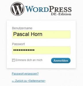 Wordpress anmelden