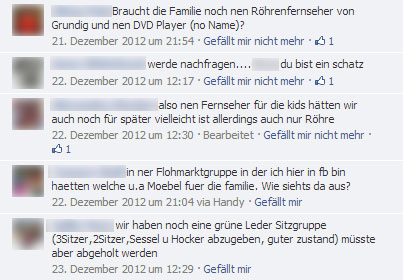 Spenden über Facebook organisiert. Screenshot