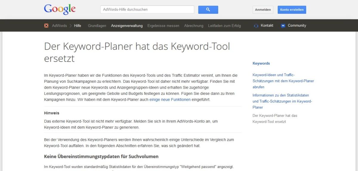 Das Google Keyword-Tool wurde ersetzt durch den Google Keyword Planner