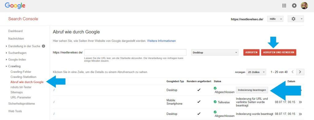 Google Search Console: Abruf wie durch Google um Seiten zu indexieren
