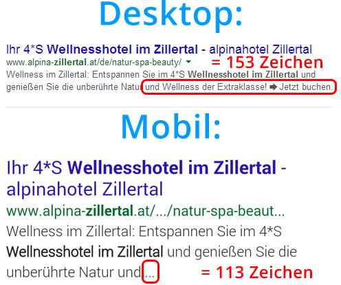 Meta Description: Desktop vs. Mobile Suchergebnisse