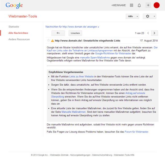 Unnatürlich eingehende Links in den Google Webmastertools