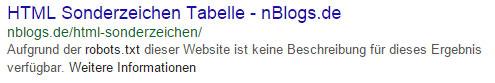 Google Suchergebnis wurde per robots.txt blockiert