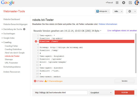 Google Webmastertools: robots.txt-Tester