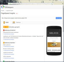 Screenshot von Pagespeed Insights von Google