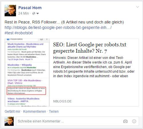 Facebook ignoriert die robots.txt komplett und übernimmt Title Tag, Artikel und Bild aus dem Artikel