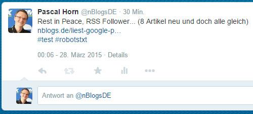Durch robots.txt blockiert: Twitter liest den Inhalt des Artikels nicht aus