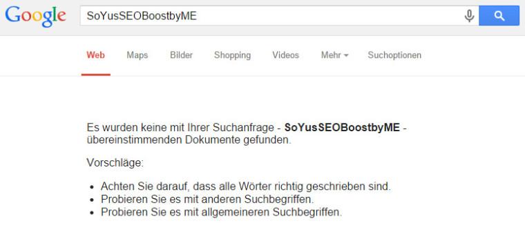 Keyword-Test bei Google: SoYusSEOBoostbyME