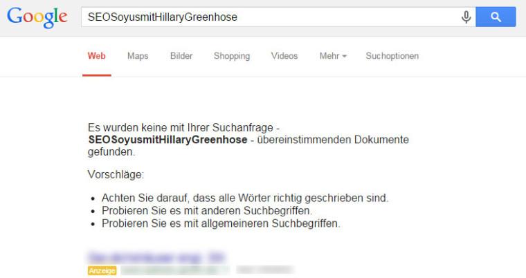 SEO Nofollow-Test mit Google: Auch das hinterlegte Keyword wurde nicht gesehen