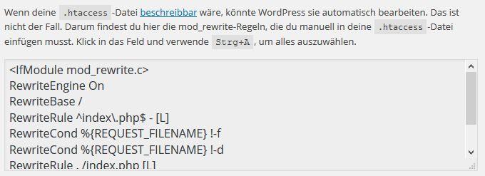 Anpassungen der .htaccess-Datei für Permalinks in WordPress