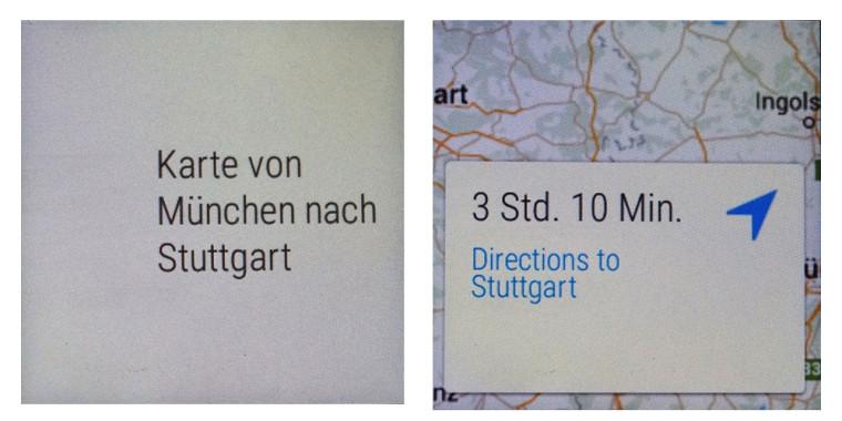 Smartwatch: Google Now Beispiel mit Google Maps