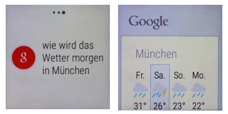 Smartwatch: Google Now Beispiel mit Wetter