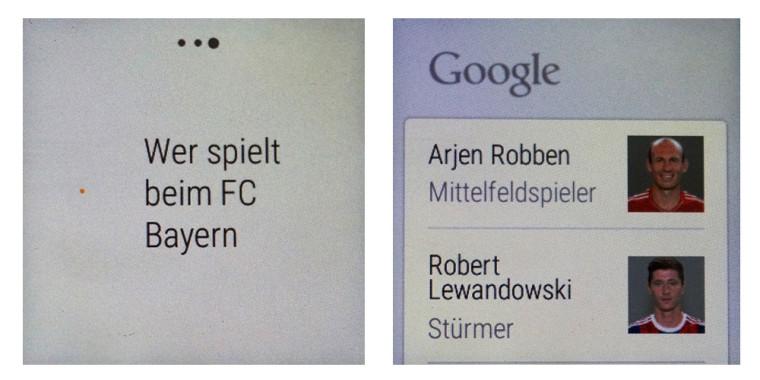 Smartwatch: Google Now Beispiel mit Fußball
