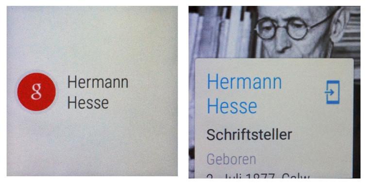 Smartwatch Google Now Beispiel: Hermann Hesse Knowledge Graph