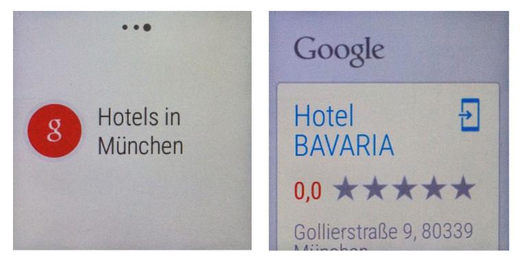 Smartwatch: Google Now Beispiel mit Hotelsuche
