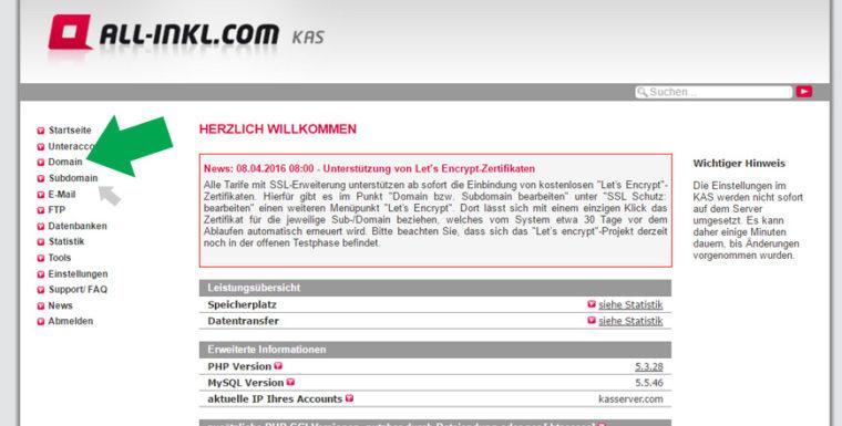All-Inkl.com: [Domains] auswählen für die Let's Encrypt-SSL-Zertifizierung