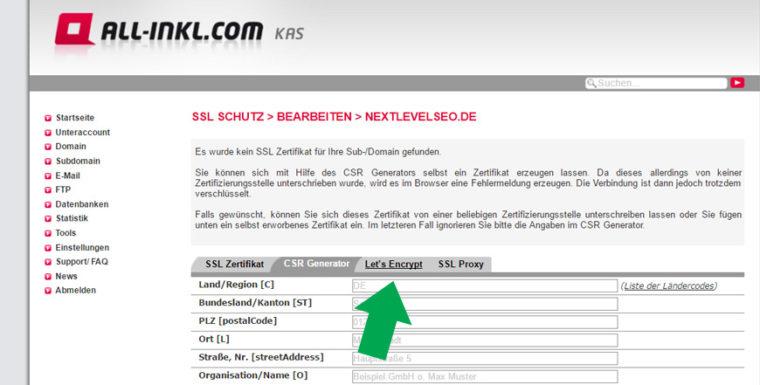 All-Inkl.com Let's Encrypt Zertifizierung vornehmen - Let's Encrypt Reiter auswählen