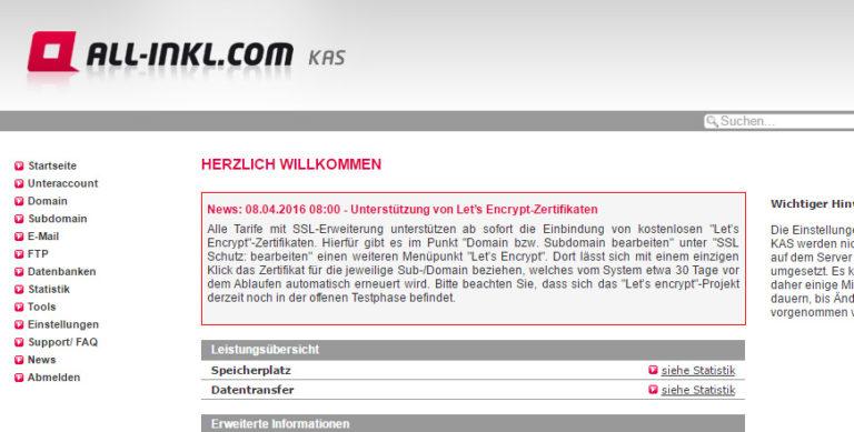 WordPress-Website bei All-Inkl.com SSL-Verschlüsseln über das kostenlose Let's Encrypt SSL-Zertifikat