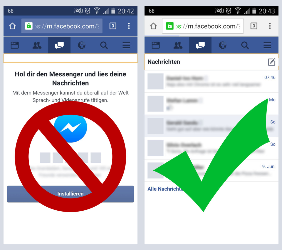 Auf der mobilen Website von Facebook die Nachrichten wieder freischalten. Eigene Screenshots