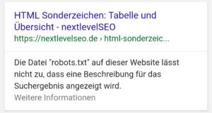 """Die Datei """"robots.txt"""" auf dieser Website lässt nicht zu, dass eine Beschreibung für das Suchergebnis angezeigt wird."""